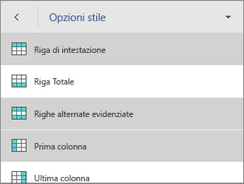 Comando Opzioni stile, con Riga di intestazione selezionato