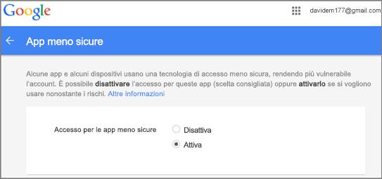 Per consentire l'accesso di Outlook, è necessario aprire Google Gmail