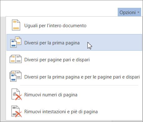 opzione diversi per la prima pagina per intestazione e piè di pagina