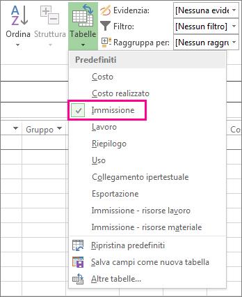 Pulsante Tabelle nella scheda Visualizza