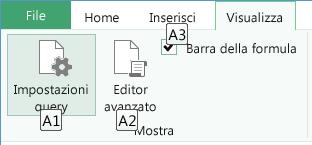Suggerimenti tasti di scelta della barra multifunzione dell'editor di query