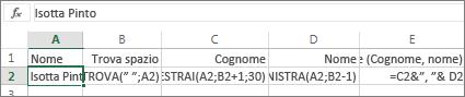 Formule per convertire un nome completo in Cognome, Nome