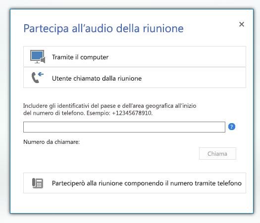 Schermata della finestra di dialogo Partecipa all'audio della riunione con l'opzione Utente chiamato dalla riunione selezionata
