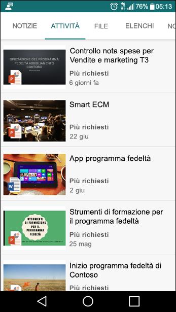 Visualizzazione per dispositivi mobili del sito del team di SharePoint