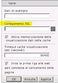 Proprietà Collegamento XSL nel menu Web part