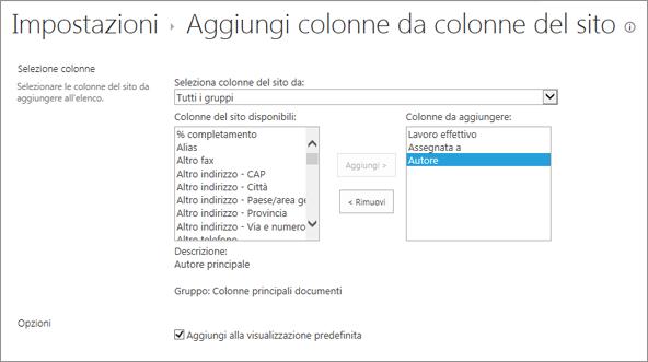 Pagina per l'aggiunta di una colonna esistente con 3 colonne selezionate