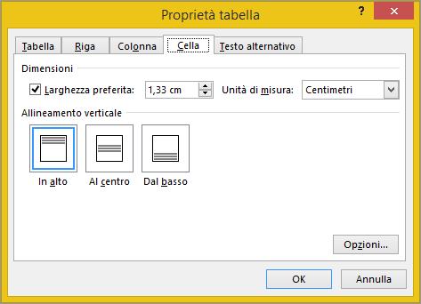 Scheda di cella nella finestra di dialogo Proprietà tabella
