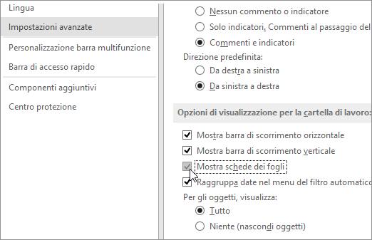 Mostra schede dei fogli nelle opzioni di Excel