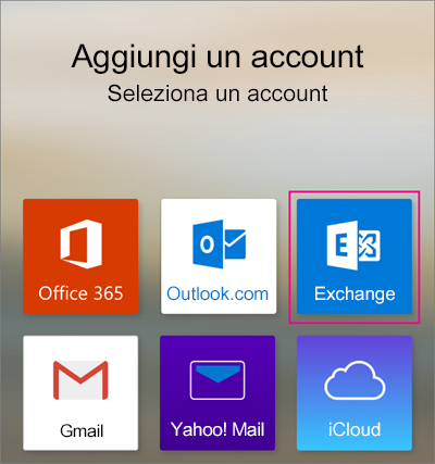 Aggiungere un account Exchange