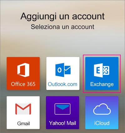 Aggiungere un account di Exchange