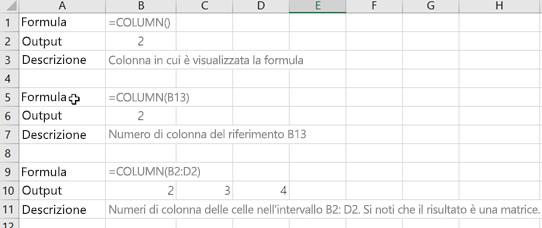 Esempi della funzione COLONNA