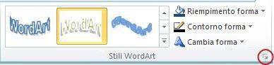 Pulsante di visualizzazione della finestra di dialogo Stili WordArt