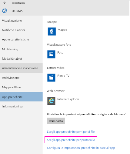 Screenshot dell'impostazione Scegli app predefinite per protocollo in Windows 10.