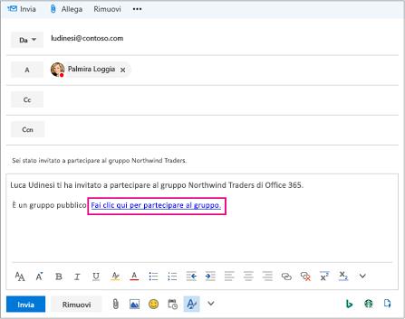 Inviare tramite posta elettronica con il collegamento di invito per prendere parte a gruppo