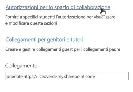 Collegamento Autorizzazioni per lo spazio di collaborazione all'interno di Gestisci blocchi appunti della classe, sopra Collegamenti per genitori e tutori.
