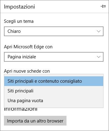 Impostazioni di Microsoft Edge per visualizzare la scheda di Office 365