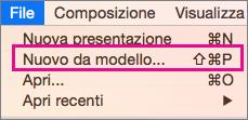 Comando Nuovo da modello in Office per Mac