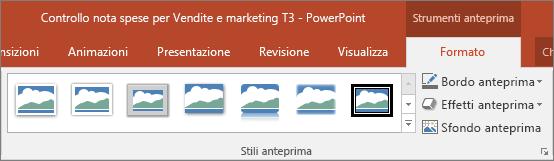 Stili anteprima ed effetti che è possibile scegliere nella scheda Formato in PowerPoint.