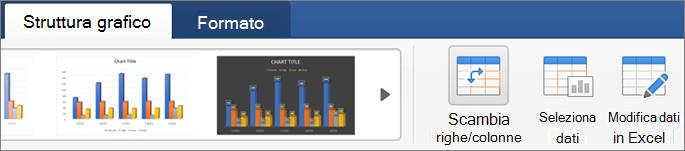 Fare clic sulla scheda Struttura grafico e quindi su Inverti righe/colonne