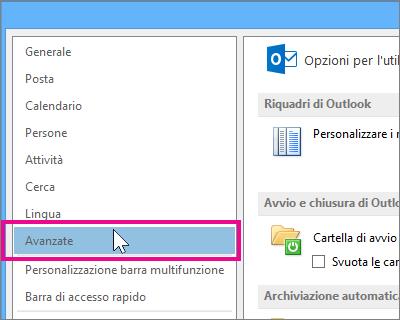 Fare clic su File, Opzioni, Avanzate.