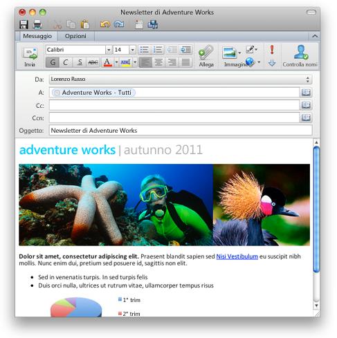 Outlook che mostra un messaggi di posta elettronica con formattazione RTF