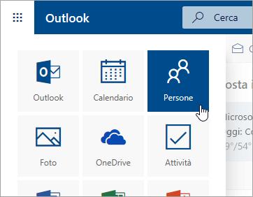 Screenshot del riquadro Persone nell'icona di avvio delle app