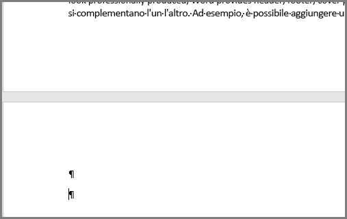 Svuotare i paragrafi nella parte superiore di una pagina di Word