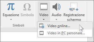 Pulsante sulla barra multifunzione per inserire un video online in PowerPoint