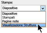 Nella finestra di dialogo Stampa in stampa selezionare la visualizzazione struttura