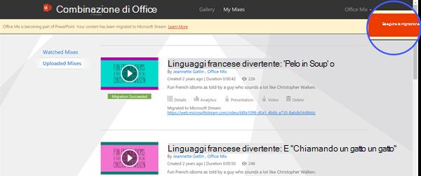 Se si è pronti a trasferire i mix dal sito Office Mix a Microsoft Stream, fare clic su Esegui migrazione nell'angolo in alto a destra della finestra.