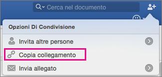 Per copiare un collegamento del documento negli Appunti, fare clic su Copia collegamento.