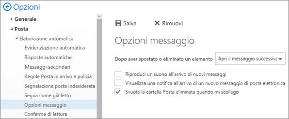 Schermata viene visualizzata la finestra di dialogo Opzioni messaggio casella in cui sia selezionata la casella di controllo per Svuota cartella Posta eliminata quando disconnette.