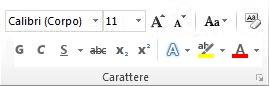 gruppo carattere della scheda home sulla barra multifunzione di word 2010.