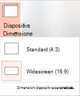 Pulsante Dimensioni diapositiva nel gruppo Personalizza