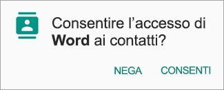 Toccare Consenti per consentire l'accesso a Contatti