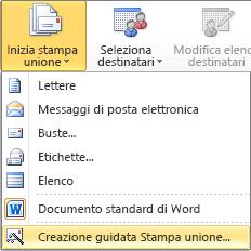 In Word, Nella scheda Lettere scegliere Inizia stampa unione e quindi scegliere Creazione guidata Stampa unione