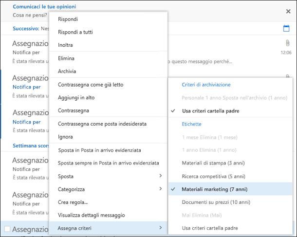 Menu Assegna criteri in Outlook sul Web