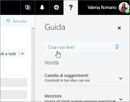 Screenshot del riquadro della Guida in Outlook sul Web con la casella Che cosa si vuole fare?