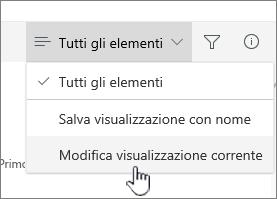 Modifica visualizzazione corrente
