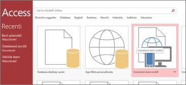 Modello Inventario beni mobili nella pagina iniziale di Access