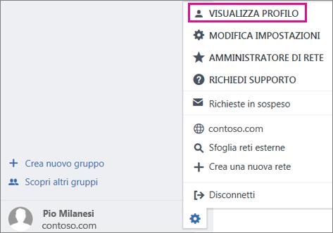 Screenshot dell'impostazione Visualizza profilo in Yammer