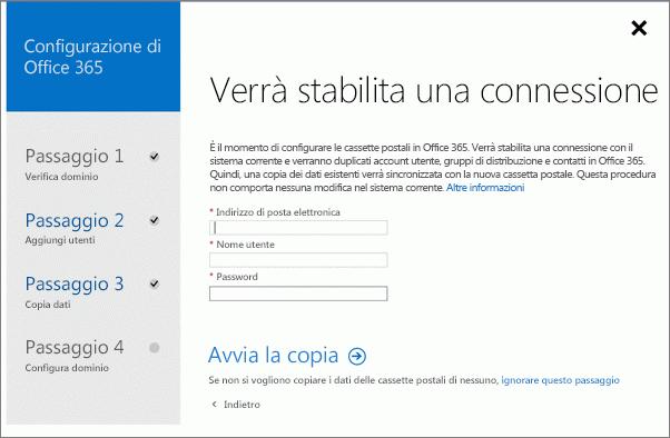 Immettere le informazioni dell'account per connettersi al server Exchange