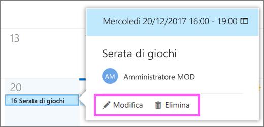 Screenshot che mostra i pulsanti Modifica ed eliminazione