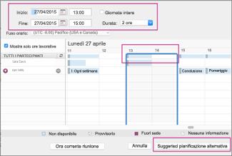 Cambiare l'ora e fare clic su Suggerisci pianificazione alternativa
