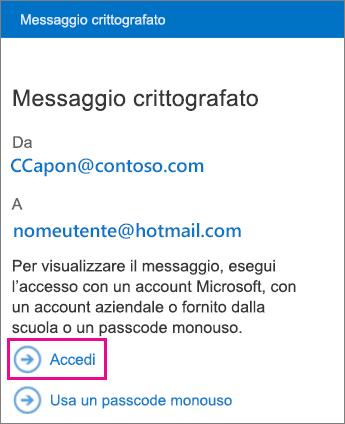 Scegliere Accedi per usare l'account del servizio gestito