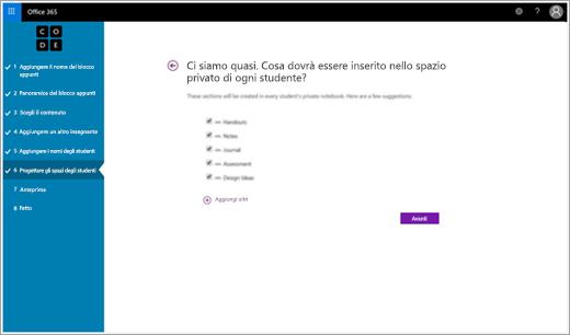 Creare sezioni per studenti nel blocco appunti della classe Code.org