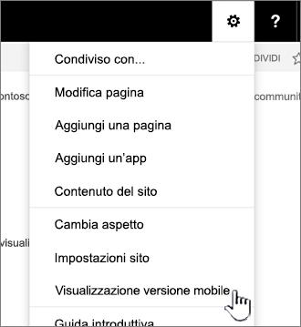 Tornare alla visualizzazione versione Mobile dalle impostazioni