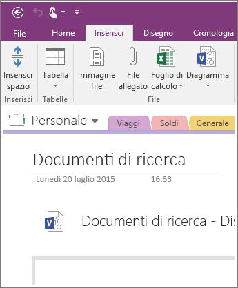 Screenshot che illustra come inserire un nuovo diagramma di Visio in OneNote 2016.