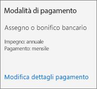 Screenshot della sezione Modalità di pagamento per un abbonamento pagato tramite fattura.