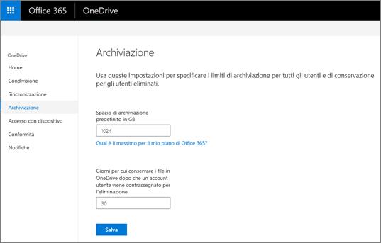 Scheda archiviazione dell'interfaccia di amministrazione di OneDrive